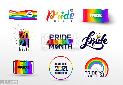 istock Pride design logo icon. Set of LGBTQ related symbol in rainbow colors. Gay pride. Rainbow community pride month. Love, freedom, support, peace flat symbol. Vector illustration. 1317158998