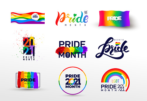 Pride design logo icon. Set of LGBTQ related symbol in rainbow colors. Gay pride. Rainbow community pride month. Love, freedom, support, peace flat symbol. Vector illustration.