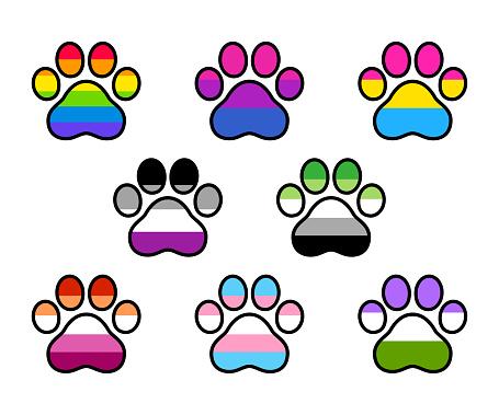 LGBT pride flags paw shape
