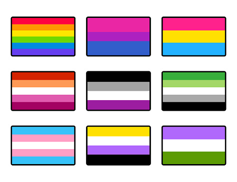 LGBT pride flags set