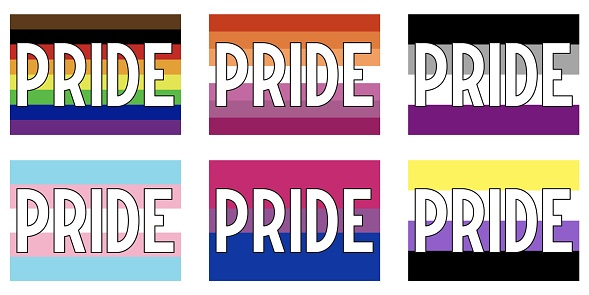 Pride Flags with pride lettering. Vector illustration