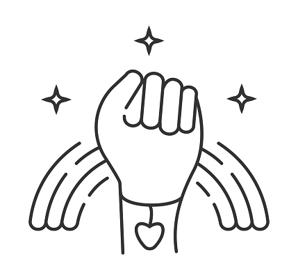 LGBT pride icon vector. Fist and rainbow with bracelet and heart, hand are shown. Pride month illustration in outline style. Gay, bisexual, lesbian