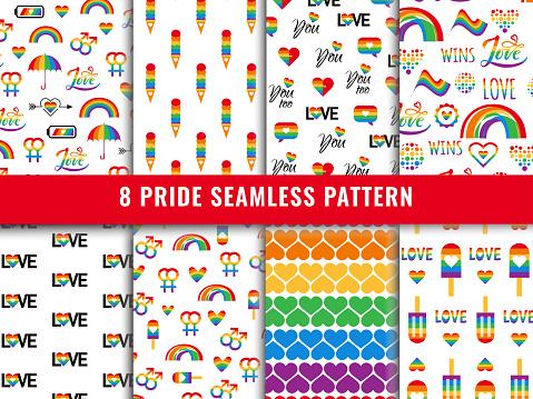 Pride lgbt seamless pattern background vector set