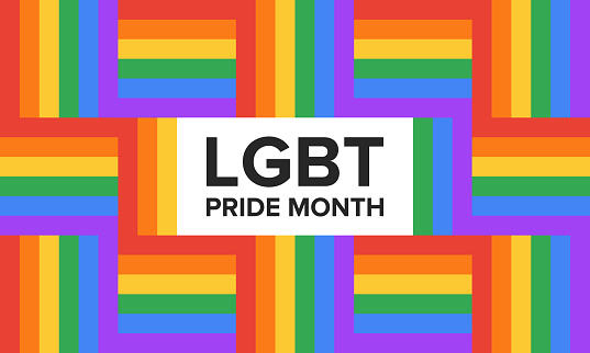 LGBT Pride Month 2019 in June. Lesbian Gay Bisexual Transgender. Celebrated annual. LGBT flag. Rainbow love concept. Human rights and tolerance. Poster, card, banner and background. Vector ilustration