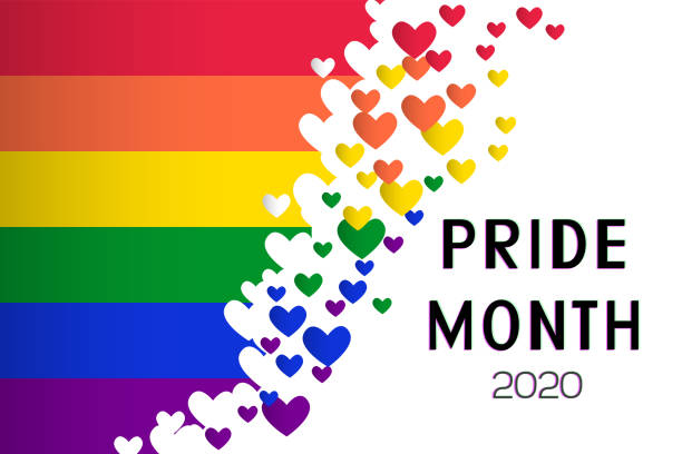 LGBT Pride Month 2020 concept. Rainbow flag (Freedom flag) with heart elements - LGBTQ community and movement of sexual minorities. Vector illustration of a international symbol of lesbian, gay. month stock illustrations