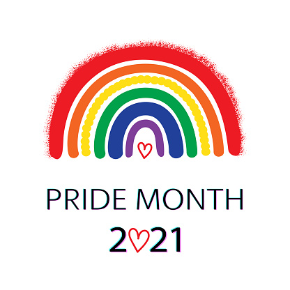 LGBT Pride Month 2021 banner, concept design. Rainbow and Freedom flag on white.