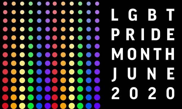 LGBT pride month background - heart, LGBT flag color dots. Poster, card, banner vector art illustration