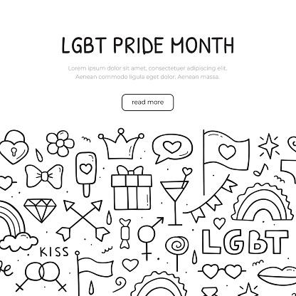 LGBT pride month. Banner template. Vector hand drawn illustration. Doodle sketch.