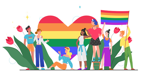 LGBT pride month concept vector illustration, cartoon young group of lover people standing together, waving, homosexual rainbow love isolated on white