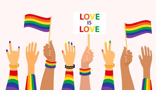 LGBT Pride Month holiday, People hold signs, banner and placards with lgbt rainbow and transgender flag. Hands up gay parade. Vector illustration