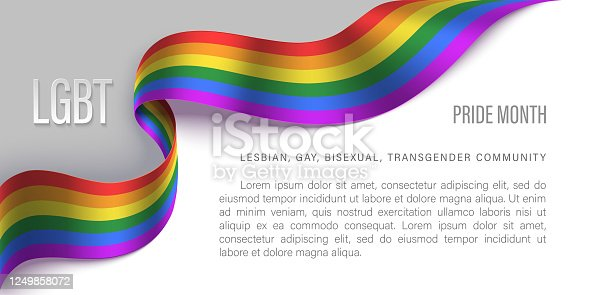 LGBT pride month horizontal banner. Human rights and tolerance. Vector illustration