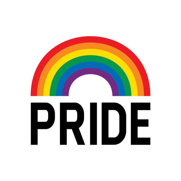 ilustrações, clipart, desenhos animados e ícones de símbolo da bandeira do arco-íris do mês do orgulho. celebração do evento do mês do orgulho isolada no fundo branco. - arco íris