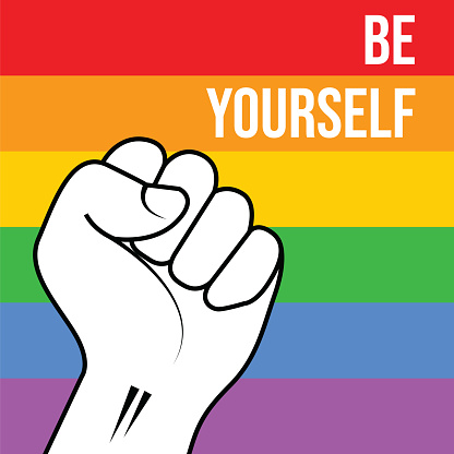 LGBT Pride Month. Rainbow spectrum flag stock illustration