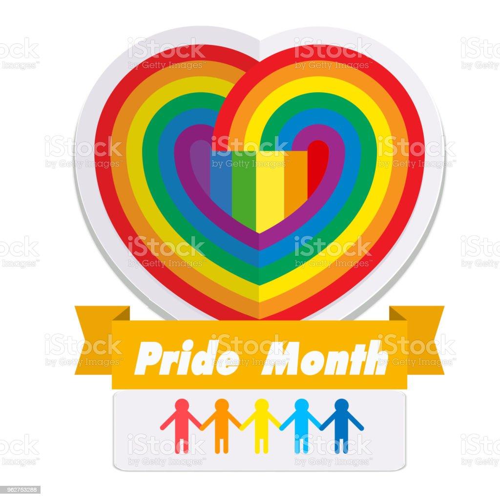 Orgulho mês Ribbon Rainbow coração fundo imagem vetorial - Vetor de Abstrato royalty-free