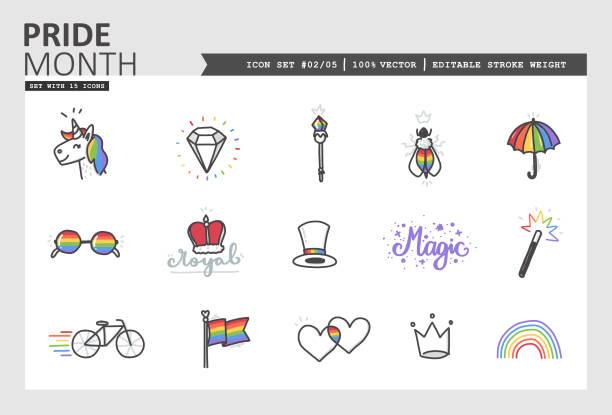 illustrations, cliparts, dessins animés et icônes de icône vector du mois de la fierté set #02/05 - sceptre