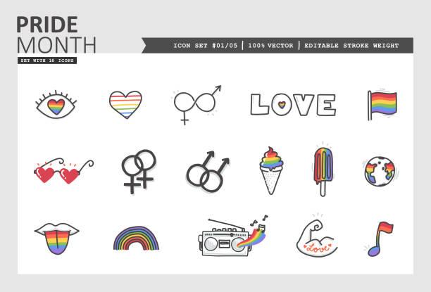 ilustraciones, imágenes clip art, dibujos animados e iconos de stock de juego de iconovectoriales del mes del orgullo #01/05 - tipos de letra de tatuajes