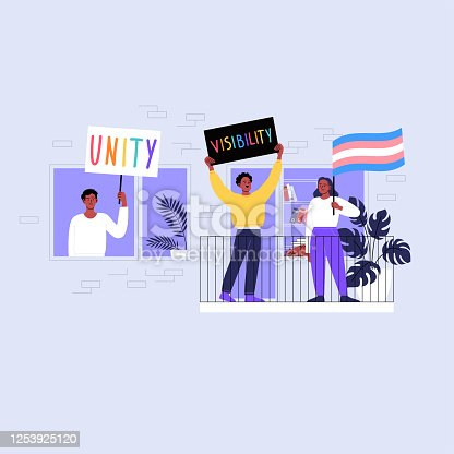 Three black people standing on the balcony holding transgender flag and banners. Pride month at home