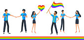 LGBTQ pride month vector set, crowd of people with rainbow flags and hearts. Love parade. Lesbian, gay, bisexual and transgender community. Flat style vector illustration clip art