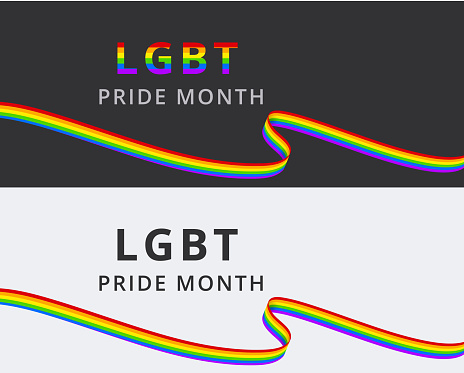 LGBT Pride Month vector set of banners with rainbow ribbons. Gift vouchers template for online shopping, holiday greeting card, invitation, flyer. LGBTQ lesbian, gay, bisexual and transgender