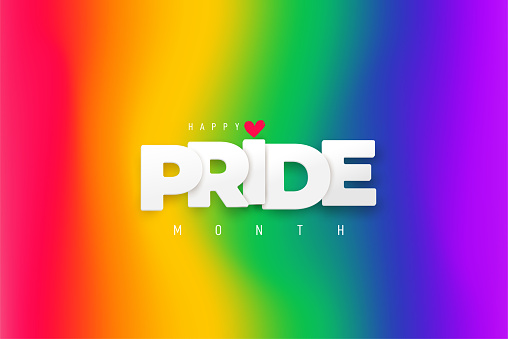 LGBTQ Pride Month. White paper text Pride label on blurred rainbow background. Banner Love is love. Human rights or diversity concept. Template LGBT event banner design.