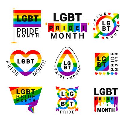 LGBT pride movement flat vector logos set