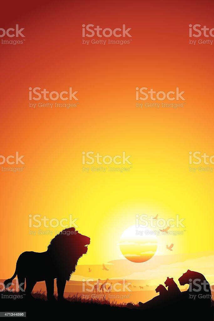 Branco di leoni africani in savanna silhouette al tramonto - illustrazione arte vettoriale