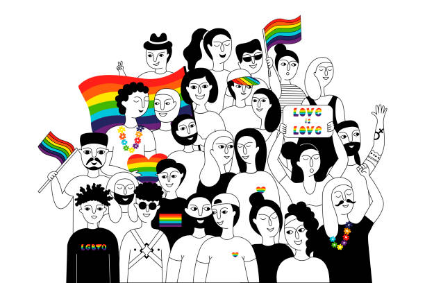 Pride parade. Pride parade. A group of people participating in a Pride parade. LGBT community. LGBTQ. Doodle vector illustration gay person stock illustrations