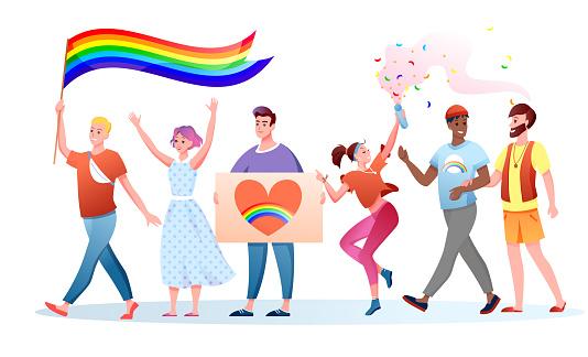 LGBT pride parade vector illustration, cartoon flat happy homosexual and transgender people holding LGBT rainbow flag on festival parade