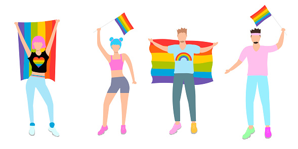 Pride parade. Woman and men taking part in pride parade. People at street demonstration for LGBT rights. Gay, lesbian, bisexual, transgender activists. Vector stock illustration in flat style.