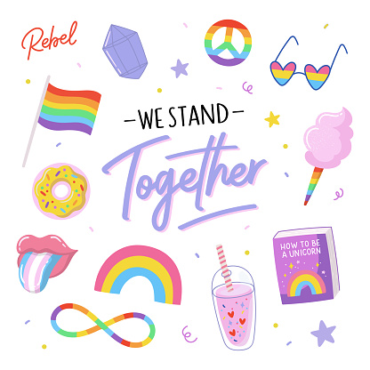 LGBTQ pride print with equality symbols and lovely typography. Vector hand drawn illustrations and lettering.