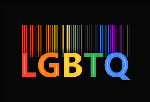 LGBT Pride Rainbow Barcode. Print for Black T-shirts