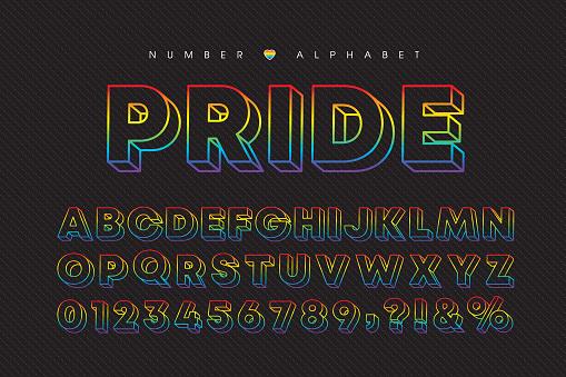 LGBTQ - 3D Pride rainbow colors font