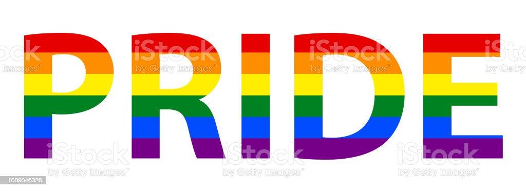 Lgbt Pride Text In Rainbow Flag Stock Illustration