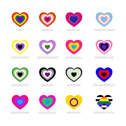 LGBTQ+ pride vector flags set, LGBT symbols.