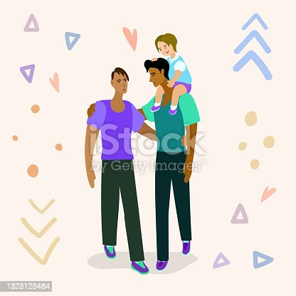 istock LGBT pride with a child. Two fathers with a child. Father with a child on his shoulders. Loving gay couple. 1323125484