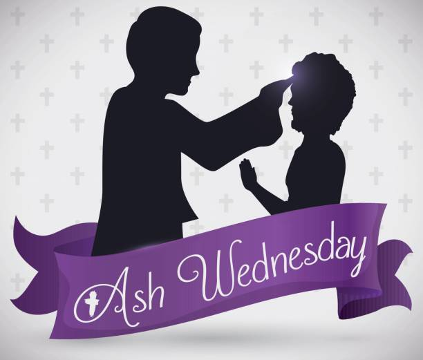 priest and parishioner silhouette's behind ribbon for ash wednesday celebration - ash wednesday stock illustrations, clip art, cartoons, & icons