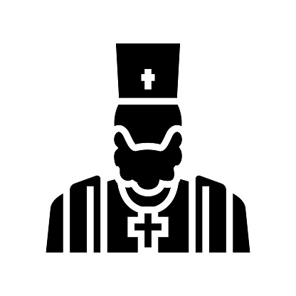 priest christianity glyph icon vector illustration