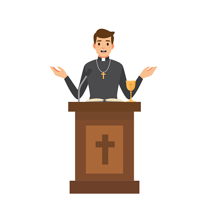 Priest giving speech from tribune.Catholic preacher character isolated on white background.