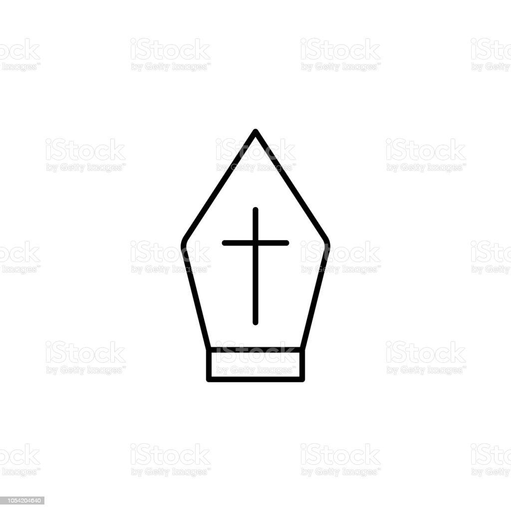 Rahip şapka anahat simgesi. Mobil kavramı ve web uygulamaları için din işaret unsuru. İnce çizgi rahip şapka anahat simgesini-ebilmek var olmak kullanılmış için web ve mobil vektör sanat illüstrasyonu