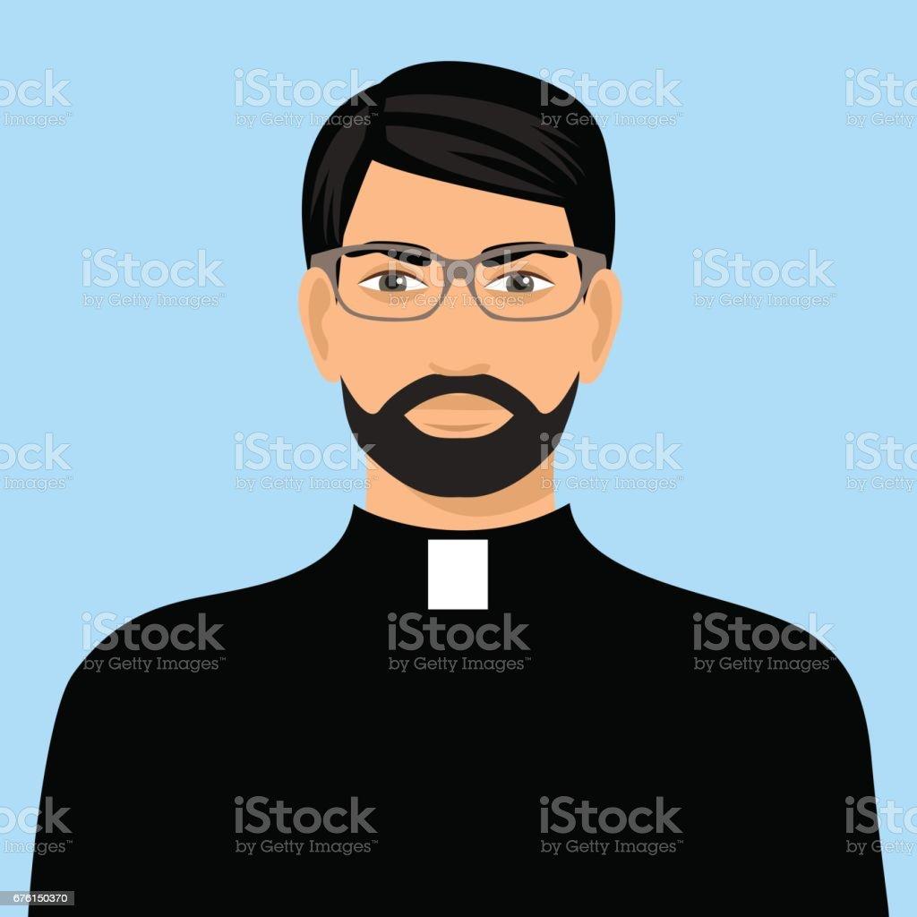 priest icon flat design vector art illustration