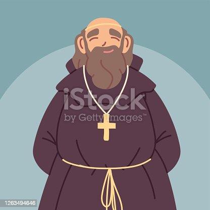istock priest or monk wearing brown hooded gown 1263494646