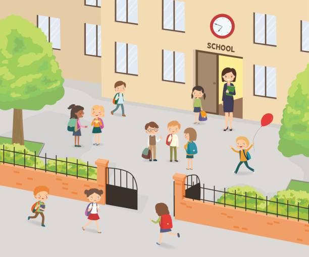 Enseignement primaire. Groupe d'enfants de l'école élémentaire dans l'yard d'école - Illustration vectorielle