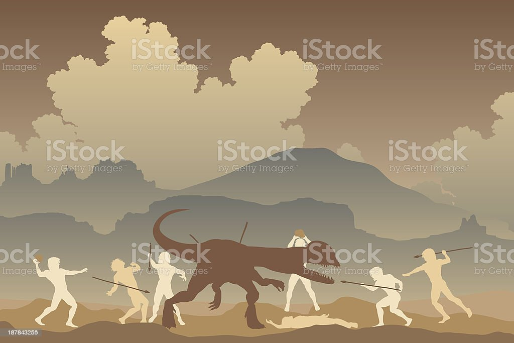 Primeval fight vector art illustration