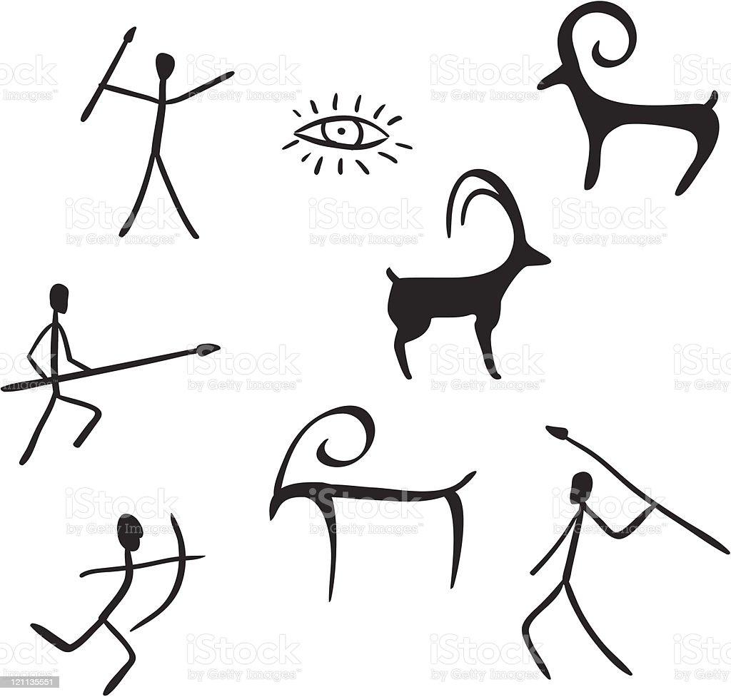 primitive figures looks like cave painting vector art illustration