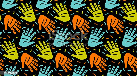 Primitive hands in seamless pattern