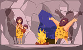 Cartoon poster with caveman family dressed in animal pelt collected around the fire in cave vector illustration
