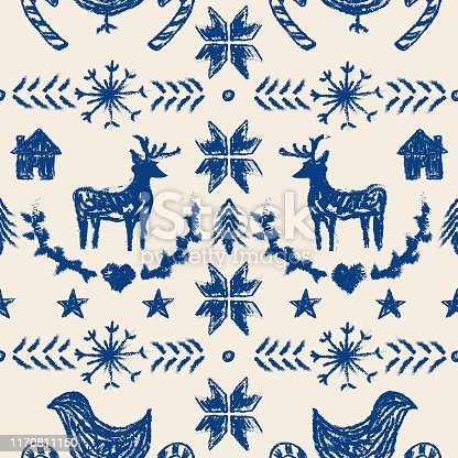 A seamless winter or Christmas pattern in the style of a nordic knit sweater. Non-denominational print, great for any winter holiday. Global colors, easy to change swatches.