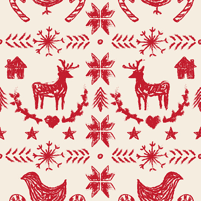 Primitive Nordic Style Winter Christmas Seamless Pattern
