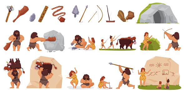 Primitive people hunt set, wild caveman hunting with stick club bow spear, woman cooking