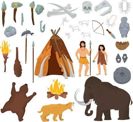 原始人がマンモスをベクトル石器時代の古代の穴居人の文字が ...